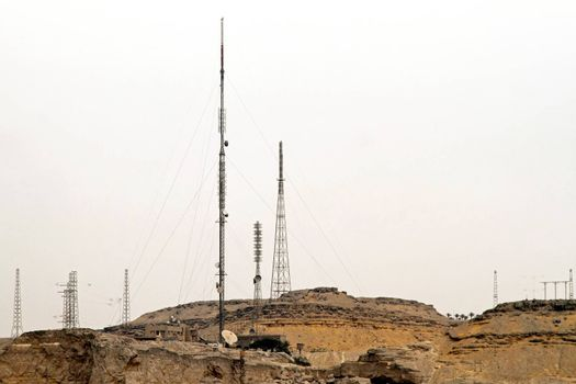 Communication antennas at hill in Cairo Egypt.