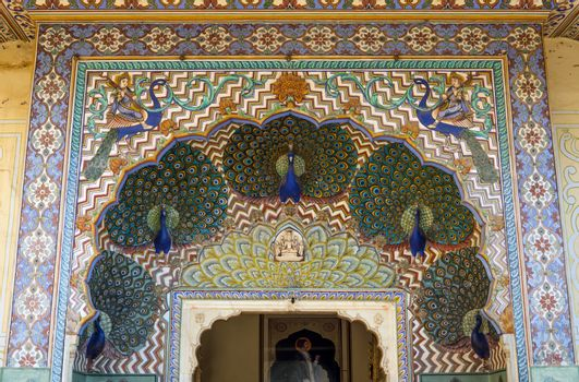 Peacock Gate at the Chandra Mahal, Jaipur City Palace in Jaipur