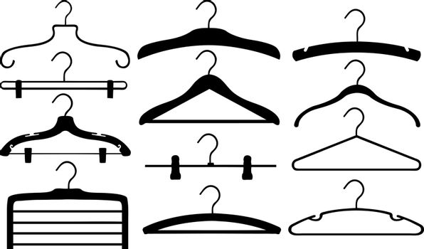 set of different hangers isolated