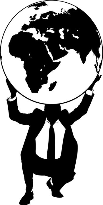 silhouette of a businessman holding the earth