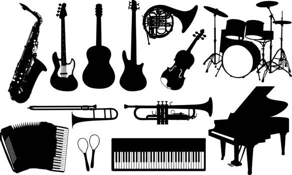 set of different musical instruments