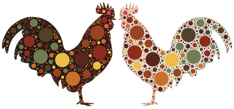 dotted rooster silhouette
