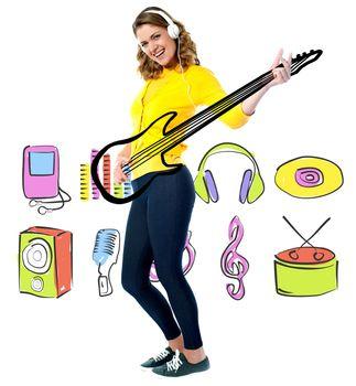 Female guitarist in full action