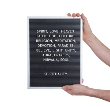 Spirituality concept in plastic letters on very old menu board