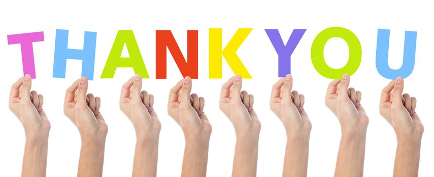 Many hands holding a colorful thank you