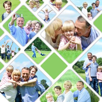 Collage of a family enjoying moments together at outdoors