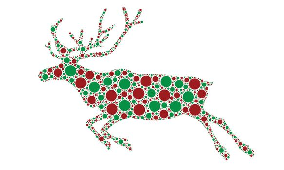 dotted reindeer silhouette