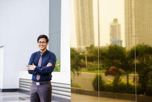 Portrait proud happy confident asian office worker