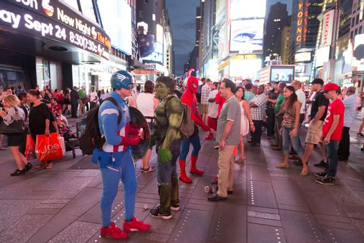 Captain America and Hulk in Times Square