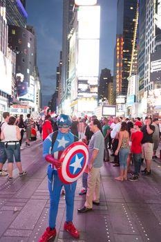 Captain America in Times Square