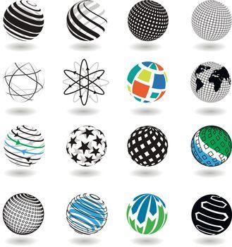 Illustration of Black and White Icons Globe