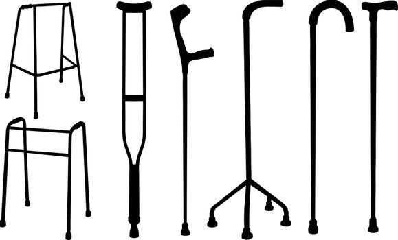set of different crutches and kanes