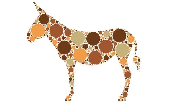 dotted donkey silhouette