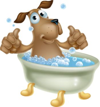 An illustration of a cute cartoon dog mascot character having a bath with lots of bubbles and doing a double thumbs up