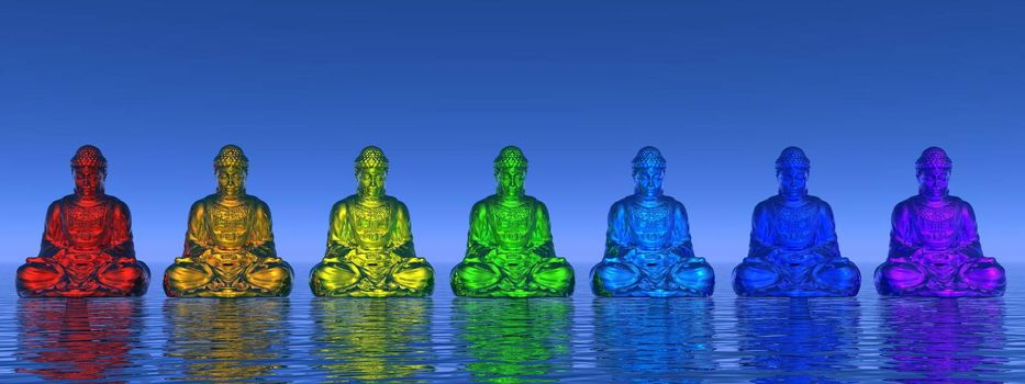 Seven small buddhas in chakra colors meditating upon water by day - 3D render