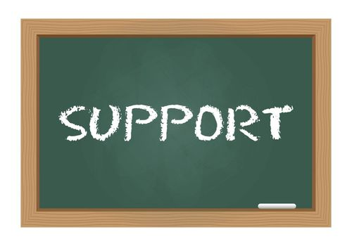 Support text on chalkboard