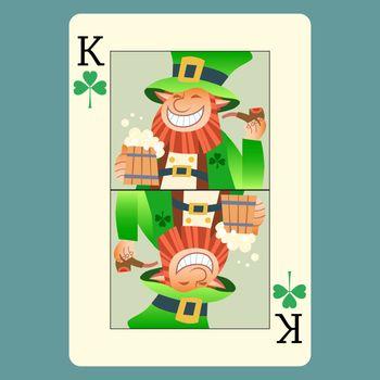 Playing card king green leprechaun St. Patrick day