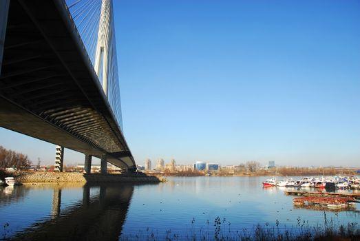 Ada bridge tower in Belgrade, Serbia