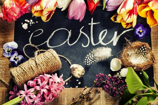 Easter background with flowers and decorations