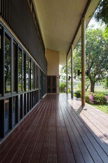 Terrace in tropical building