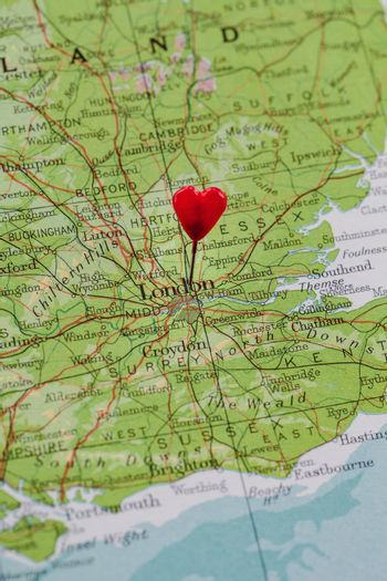 London pinned with a heart