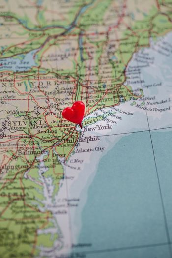 New York pinned with a heart