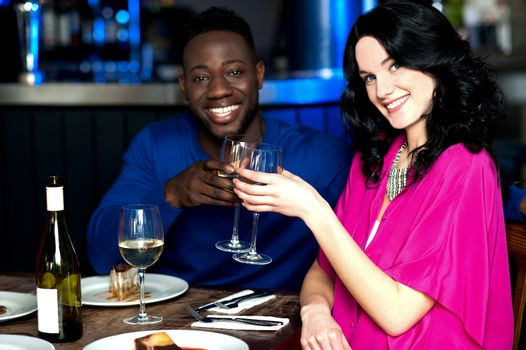 Affectionate couple in bar