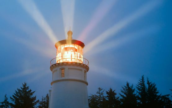 Lighthouse Beams Illumination Into Rain Storm Maritime Nautical