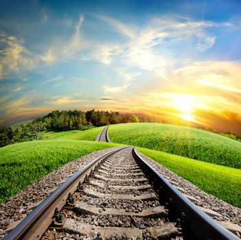 Railroad through forest