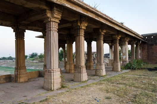 Colonnade of Sarkhej Roza mosque in Ahmedabad
