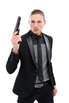 Handsome man with pistol