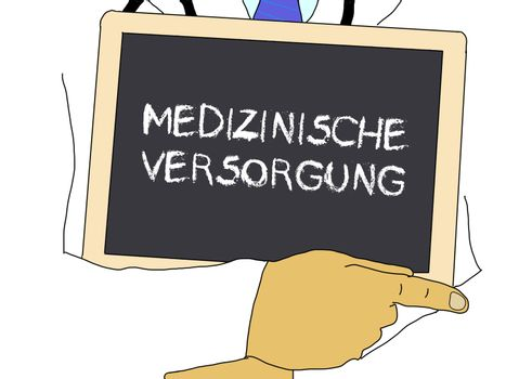 Illustration: Doctor shows information: Health care in german