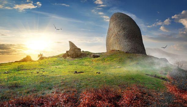 Stone on mountain