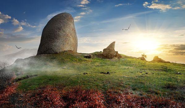 Stones on mountain