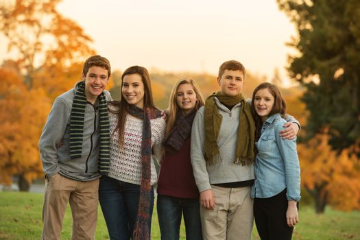 Five Cute Teens with Scarves
