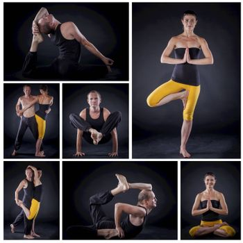 Collage of images young couple doing yoga. On black backgraund