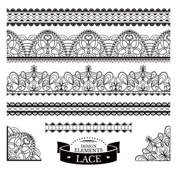 Set of lace patterns vector illustration
