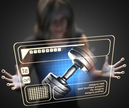 woman and hologram with dumbbell