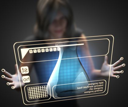 woman and hologram with laboratory glassware
