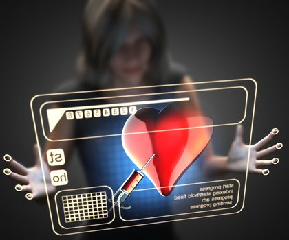 woman and hologram with heart