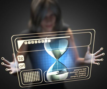 woman and hologram with hourglass