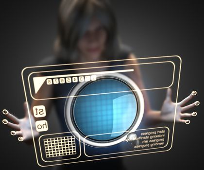 woman and hologram with loupe