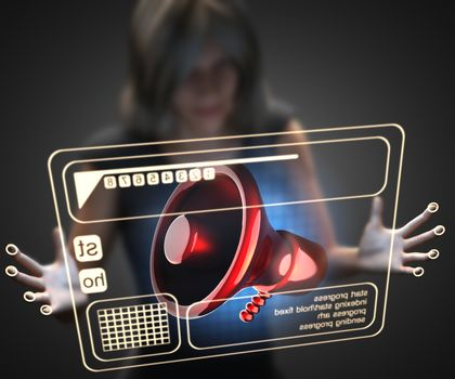 woman and hologram with megaphone