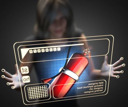 woman and hologram with fire extinguisher