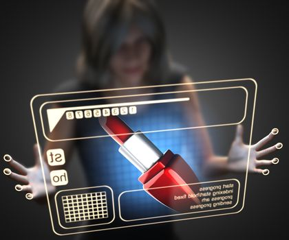woman and hologram with lipstick