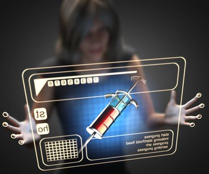 woman and hologram with syringe