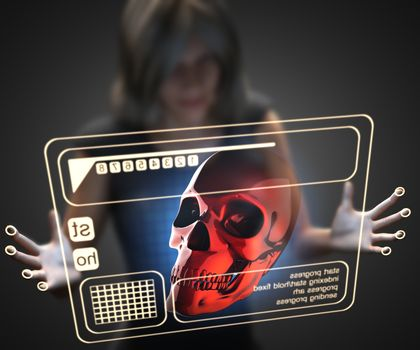 woman and hologram with skull