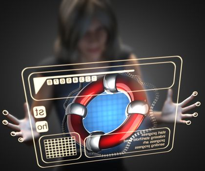 woman and hologram with lifebuoy