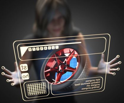 woman and hologram with car wheel