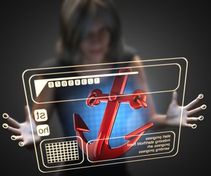 woman and hologram with anchor